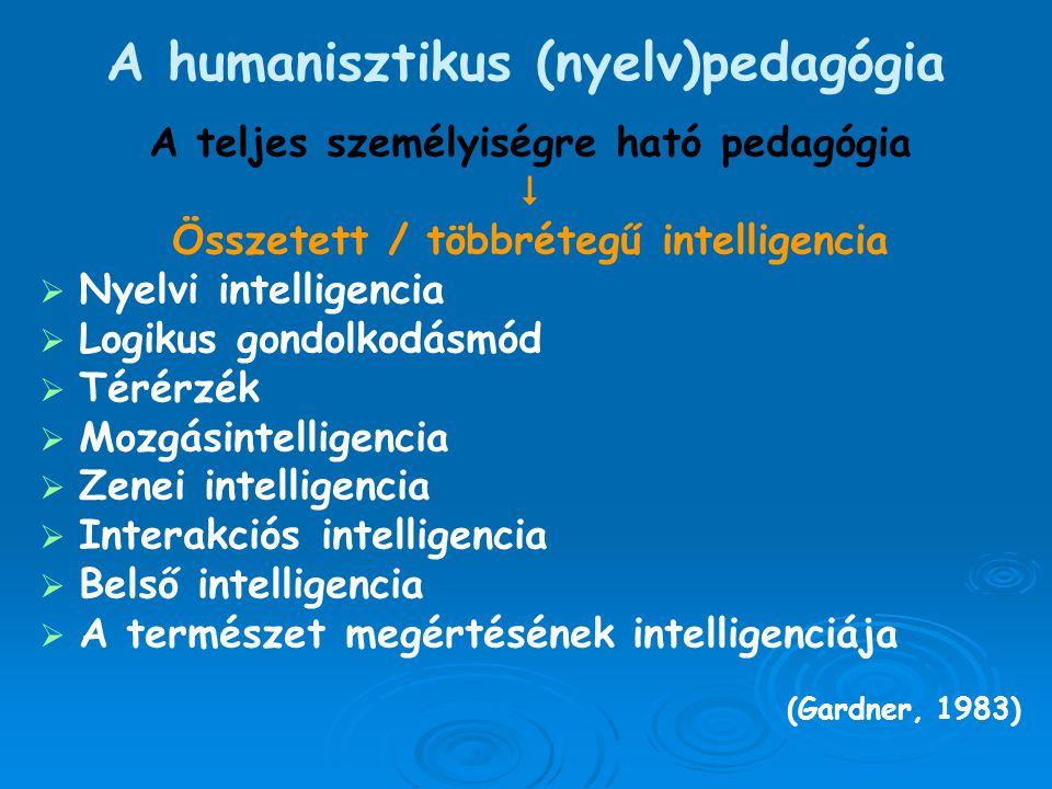 A humanisztikus (nyelv)pedagógia A teljes személyiségre ható pedagógia  Összetett / többrétegű intelligencia   Nyelvi intelligencia   Logikus gon