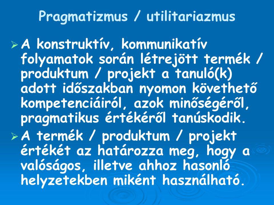 Pragmatizmus / utilitariazmus   A konstruktív, kommunikatív folyamatok során létrejött termék / produktum / projekt a tanuló(k) adott időszakban nyo