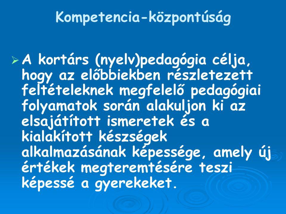 Kompetencia-központúság   A kortárs (nyelv)pedagógia célja, hogy az előbbiekben részletezett feltételeknek megfelelő pedagógiai folyamatok során ala