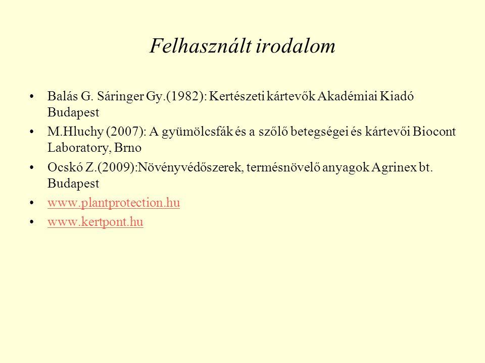 Felhasznált irodalom Balás G.