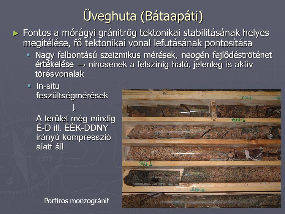 Üveghuta (Bátaapáti) ► Fontos a mórágyi gránitrög tektonikai stabilitásának helyes megítélése, fő tektonikai vonal lefutásának pontosítása  Nagy felb