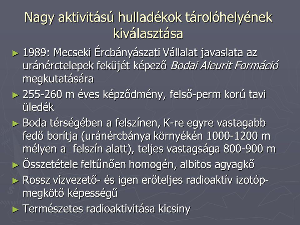 Nagy aktivitású hulladékok tárolóhelyének kiválasztása ► 1989: Mecseki Ércbányászati Vállalat javaslata az uránérctelepek feküjét képező Bodai Aleurit