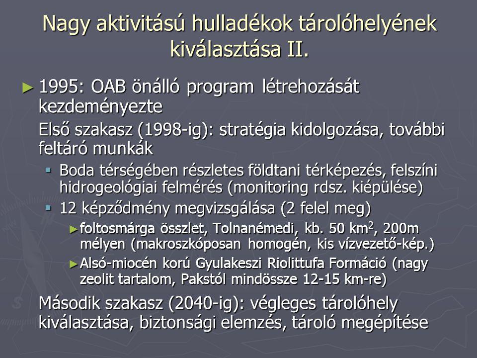 Nagy aktivitású hulladékok tárolóhelyének kiválasztása II. ► 1995: OAB önálló program létrehozását kezdeményezte Első szakasz (1998-ig): stratégia kid
