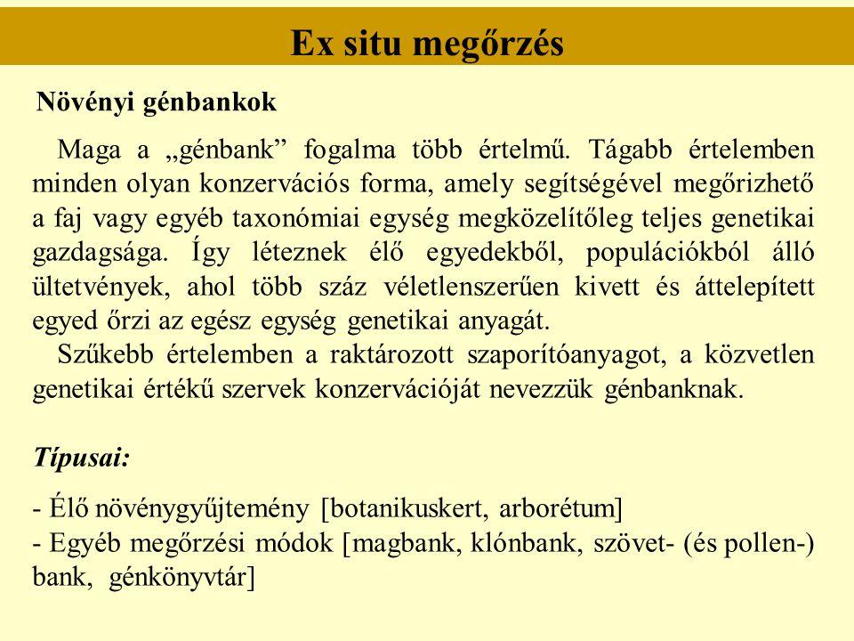 """Ex situ megőrzés Növényi génbankok Maga a """"génbank"""" fogalma több értelmű. Tágabb értelemben minden olyan konzervációs forma, amely segítségével megőri"""