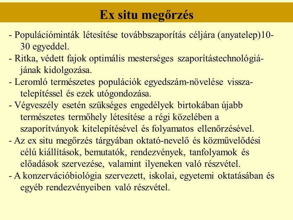 Ex situ megőrzés - Populációminták létesítése továbbszaporítás céljára (anyatelep)10- 30 egyeddel. - Ritka, védett fajok optimális mesterséges szaporí