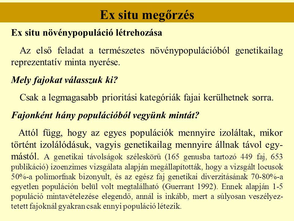 Ex situ megőrzés Ex situ növénypopuláció létrehozása Az első feladat a természetes növénypopulációból genetikailag reprezentatív minta nyerése. Mely f