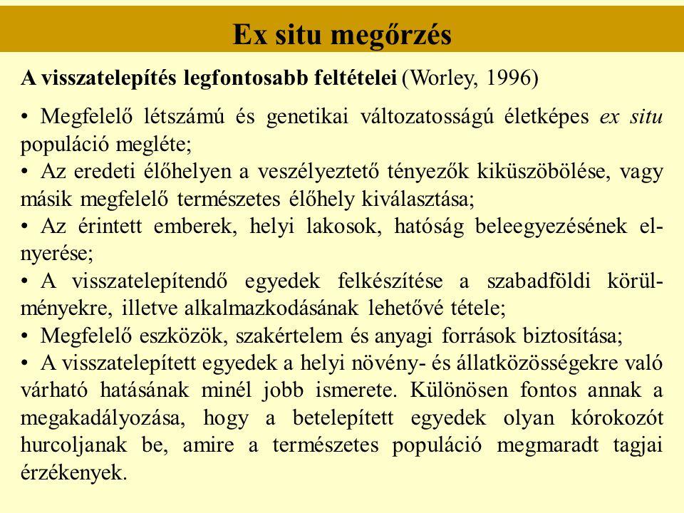 Ex situ megőrzés A visszatelepítés legfontosabb feltételei (Worley, 1996) Megfelelő létszámú és genetikai változatosságú életképes ex situ populáció m
