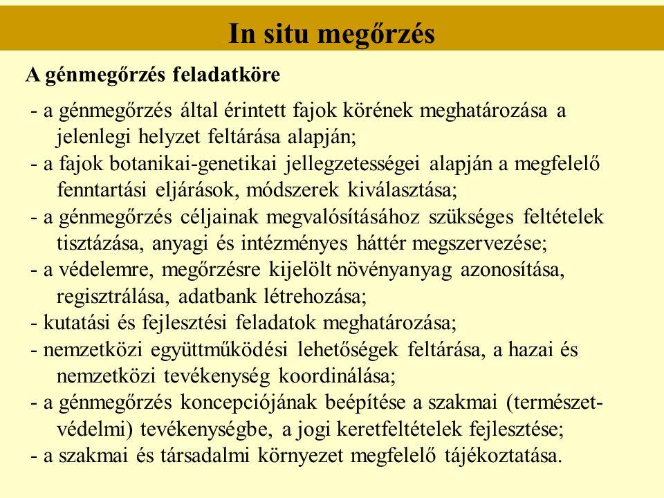Ex situ megőrzés A génmegőrzés jogi szabályozása (törvényi háttér) Az 1996.