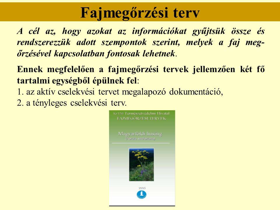 Fajmegőrzési terv A cél az, hogy azokat az információkat gyűjtsük össze és rendszerezzük adott szempontok szerint, melyek a faj meg- őrzésével kapcsol