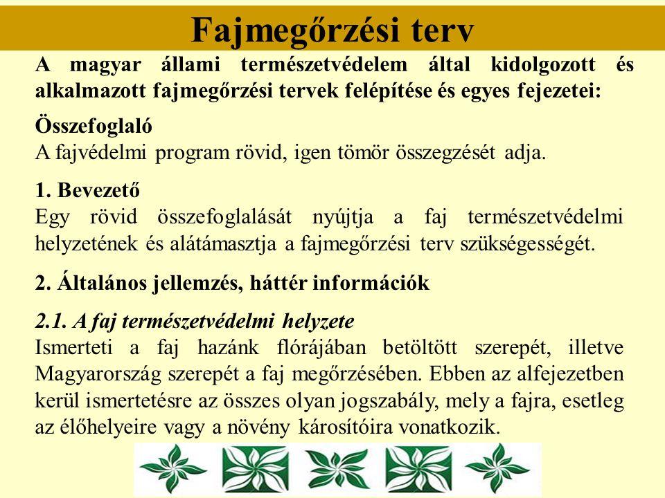 Fajmegőrzési terv A magyar állami természetvédelem által kidolgozott és alkalmazott fajmegőrzési tervek felépítése és egyes fejezetei: Összefoglaló A
