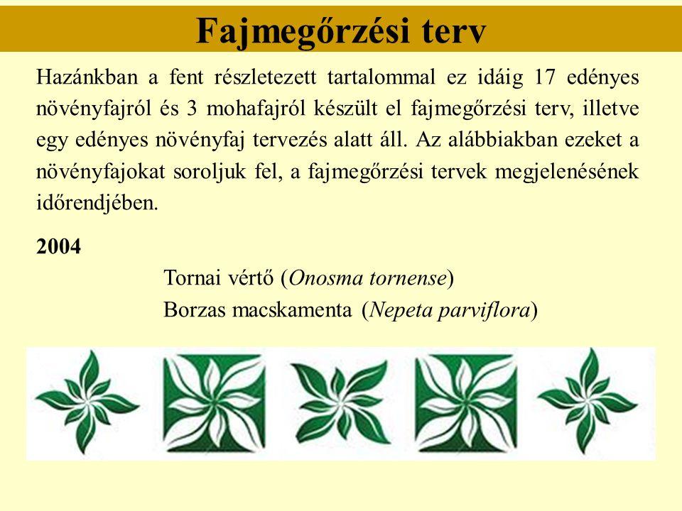 Fajmegőrzési terv Hazánkban a fent részletezett tartalommal ez idáig 17 edényes növényfajról és 3 mohafajról készült el fajmegőrzési terv, illetve egy