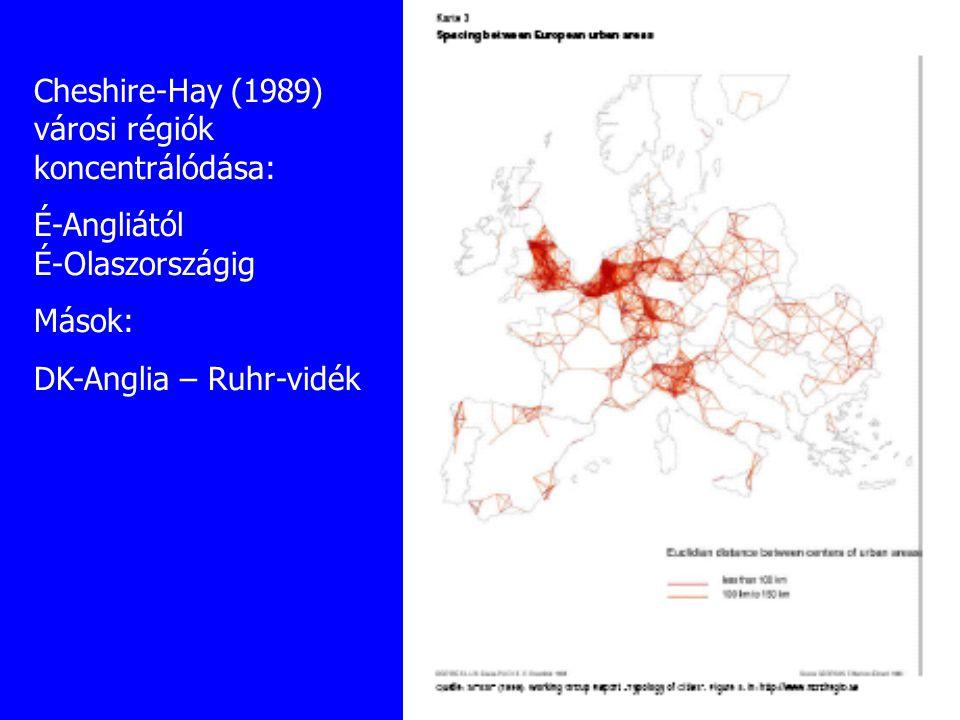 Cheshire-Hay (1989) városi régiók koncentrálódása: É-Angliától É-Olaszországig Mások: DK-Anglia – Ruhr-vidék