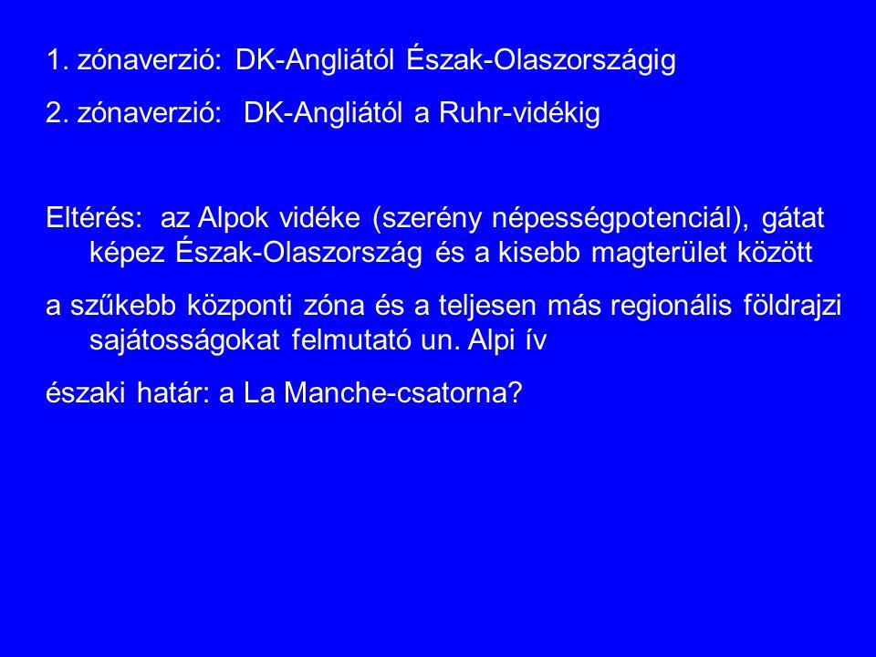 1. zónaverzió: DK-Angliától Észak-Olaszországig 2. zónaverzió: DK-Angliától a Ruhr-vidékig Eltérés: az Alpok vidéke (szerény népességpotenciál), gátat
