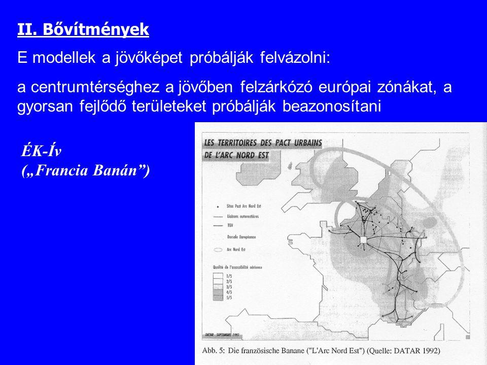 """ÉK-Ív (""""Francia Banán"""") II. Bővítmények E modellek a jövőképet próbálják felvázolni: a centrumtérséghez a jövőben felzárkózó európai zónákat, a gyorsa"""