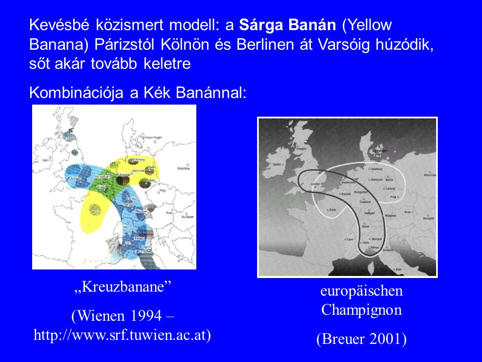 """Kreuzbanane"" (Wienen 1994 – http://www.srf.tuwien.ac.at) europäischen Champignon (Breuer 2001) Kevésbé közismert modell: a Sárga Banán (Yellow Banana"