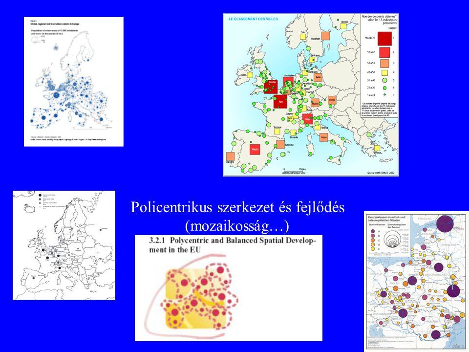 Policentrikus szerkezet és fejlődés (mozaikosság…)