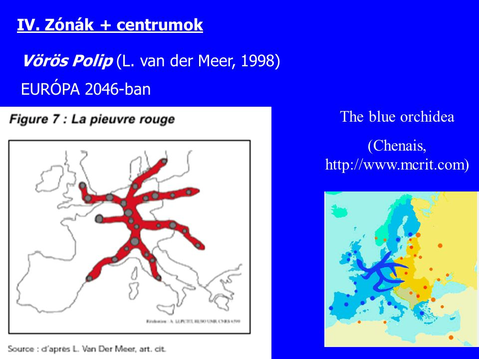 Vörös Polip (L. van der Meer, 1998) EURÓPA 2046-ban The blue orchidea (Chenais, http://www.mcrit.com) IV. Zónák + centrumok