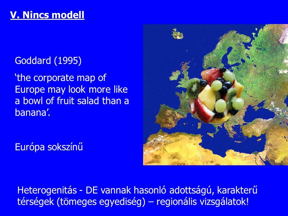 Goddard (1995) 'the corporate map of Europe may look more like a bowl of fruit salad than a banana'. Európa sokszínű Heterogenitás - DE vannak hasonló