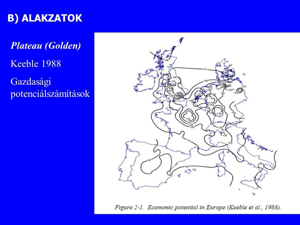"""""""Kreuzbanane (Wienen 1994 – http://www.srf.tuwien.ac.at) europäischen Champignon (Breuer 2001) Kevésbé közismert modell: a Sárga Banán (Yellow Banana) Párizstól Kölnön és Berlinen át Varsóig húzódik, sőt akár tovább keletre Kombinációja a Kék Banánnal:"""