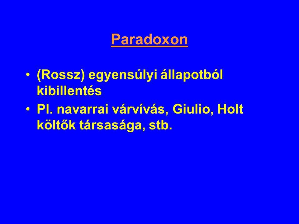Paradoxon (Rossz) egyensúlyi állapotból kibillentés Pl. navarrai várvívás, Giulio, Holt költők társasága, stb.