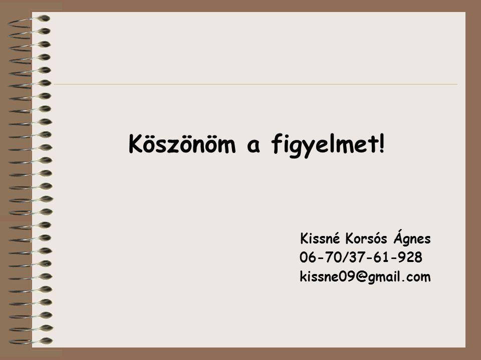 Köszönöm a figyelmet! Kissné Korsós Ágnes 06-70/37-61-928 kissne09@gmail.com