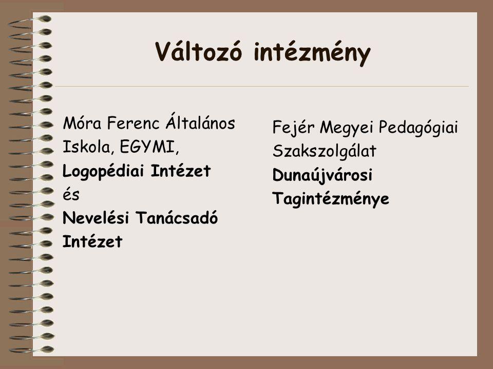 Változó intézmény Móra Ferenc Általános Iskola, EGYMI, Logopédiai Intézet és Nevelési Tanácsadó Intézet Fejér Megyei Pedagógiai Szakszolgálat Dunaújvárosi Tagintézménye
