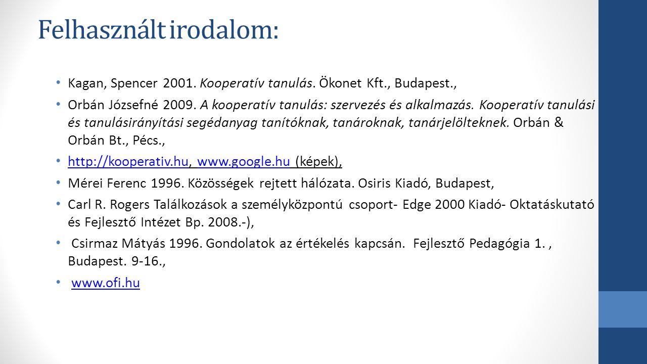 Felhasznált irodalom: Kagan, Spencer 2001. Kooperatív tanulás. Ökonet Kft., Budapest., Orbán Józsefné 2009. A kooperatív tanulás: szervezés és alkalma