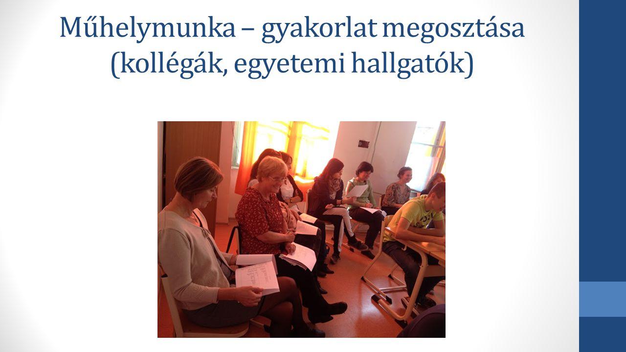 Műhelymunka – gyakorlat megosztása (kollégák, egyetemi hallgatók)