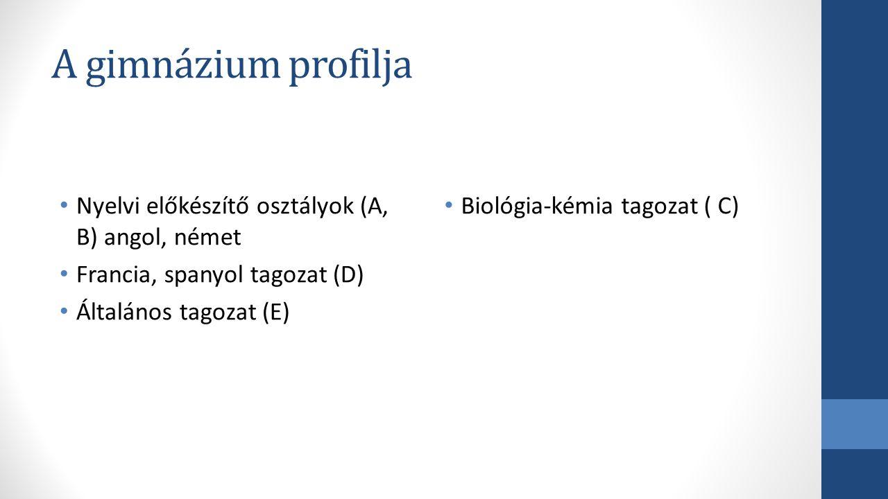 A gimnázium profilja Nyelvi előkészítő osztályok (A, B) angol, német Francia, spanyol tagozat (D) Általános tagozat (E) Biológia-kémia tagozat ( C)