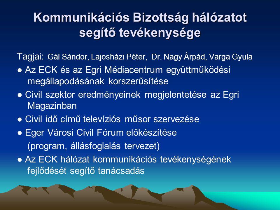 Kommunikációs Bizottság hálózatot segítő tevékenysége Tagjai: Gál Sándor, Lajosházi Péter, Dr. Nagy Árpád, Varga Gyula ● Az ECK és az Egri Médiacentru