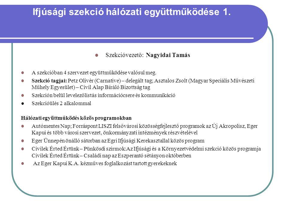 Ifjúsági szekció hálózati együttműködése 1.