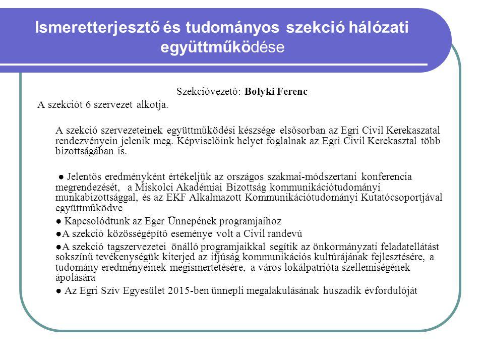 Ismeretterjesztő és tudományos szekció hálózati együttműködése Szekcióvezető: Bolyki Ferenc A szekciót 6 szervezet alkotja. A szekció szervezeteinek e