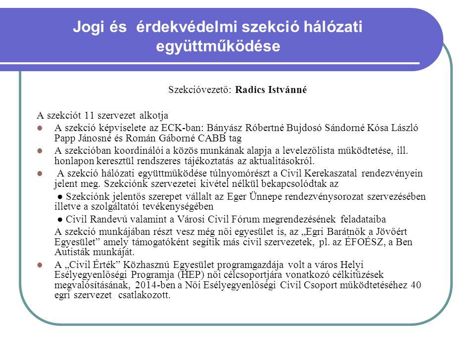 Jogi és érdekvédelmi szekció hálózati együttműködése Szekcióvezető: Radics Istvánné A szekciót 11 szervezet alkotja A szekció képviselete az ECK-ban: