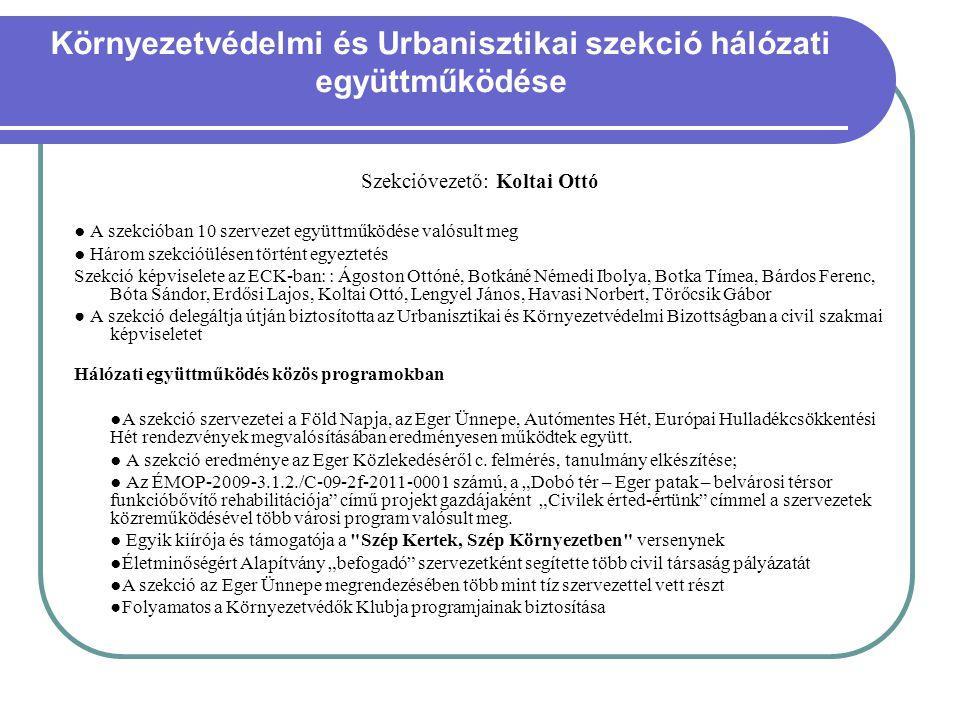 Környezetvédelmi és Urbanisztikai szekció hálózati együttműködése Szekcióvezető: Koltai Ottó ● A szekcióban 10 szervezet együttműködése valósult meg ●