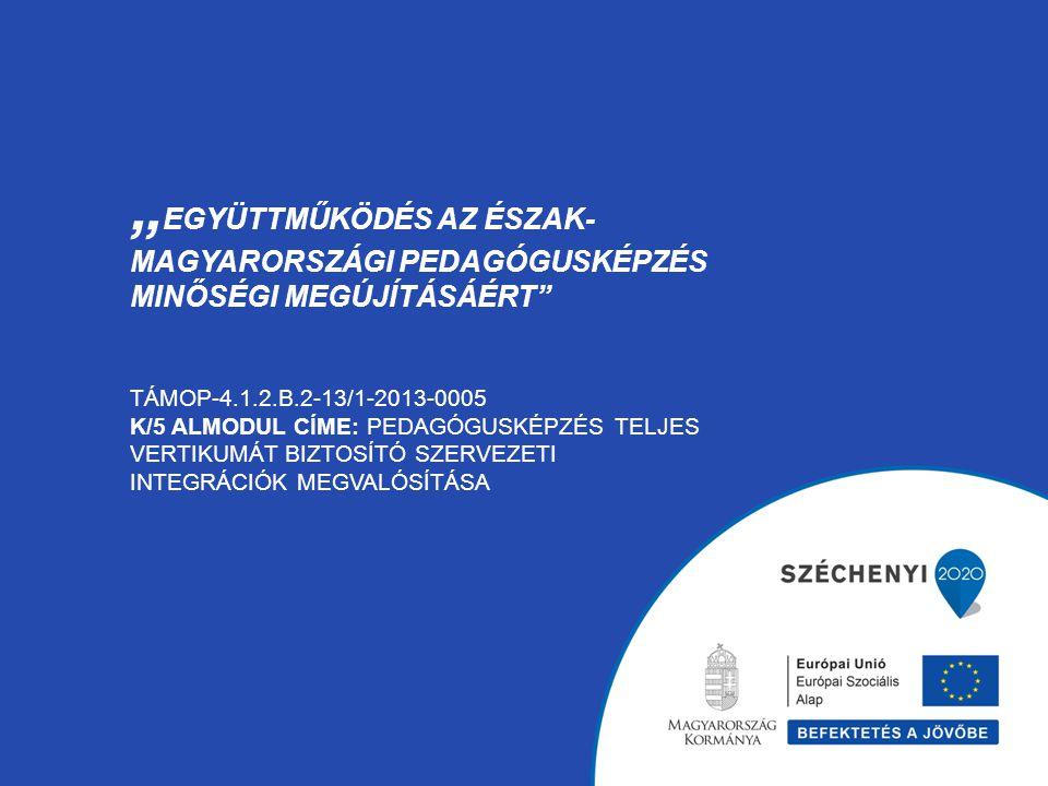 """"""" EGYÜTTMŰKÖDÉS AZ ÉSZAK- MAGYARORSZÁGI PEDAGÓGUSKÉPZÉS MINŐSÉGI MEGÚJÍTÁSÁÉRT"""" TÁMOP-4.1.2.B.2-13/1-2013-0005 K/5 ALMODUL CÍME: PEDAGÓGUSKÉPZÉS TELJE"""