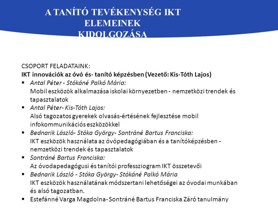 Tanórai megfigyelési lap IKT kompetenciák 1.egyéni fejlesztés –IKT elem megfelelő 2.3.4.