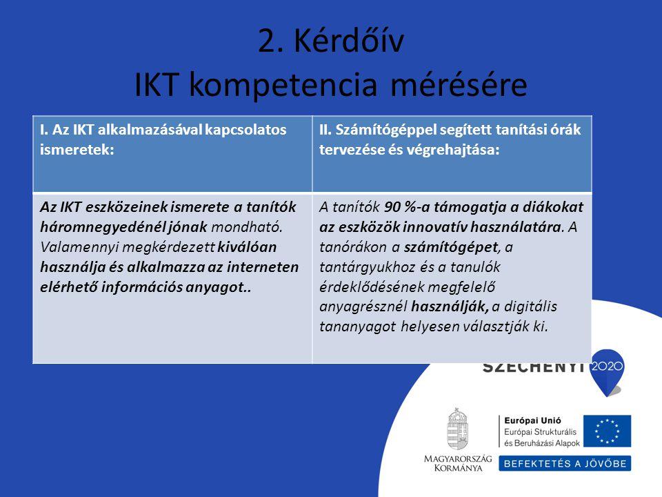 2. Kérdőív IKT kompetencia mérésére I. Az IKT alkalmazásával kapcsolatos ismeretek: II. Számítógéppel segített tanítási órák tervezése és végrehajtása