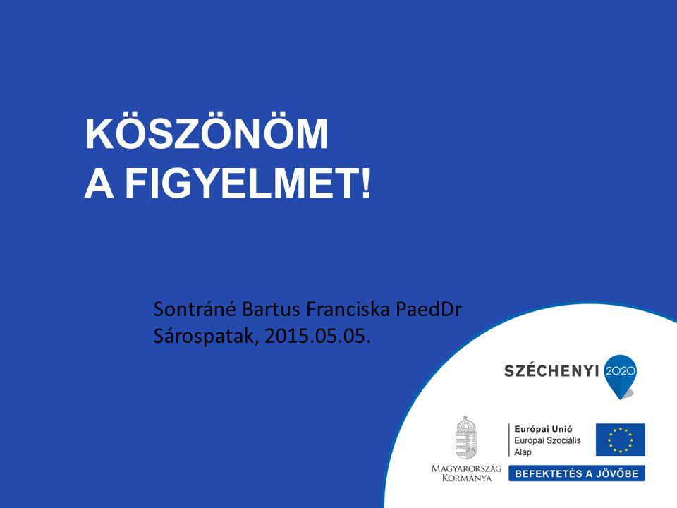KÖSZÖNÖM A FIGYELMET! Sontráné Bartus Franciska PaedDr Sárospatak, 2015.05.05.