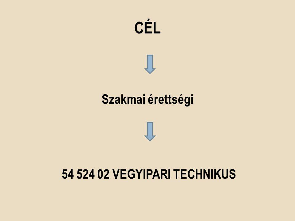 CÉL Szakmai érettségi 54 524 02 VEGYIPARI TECHNIKUS