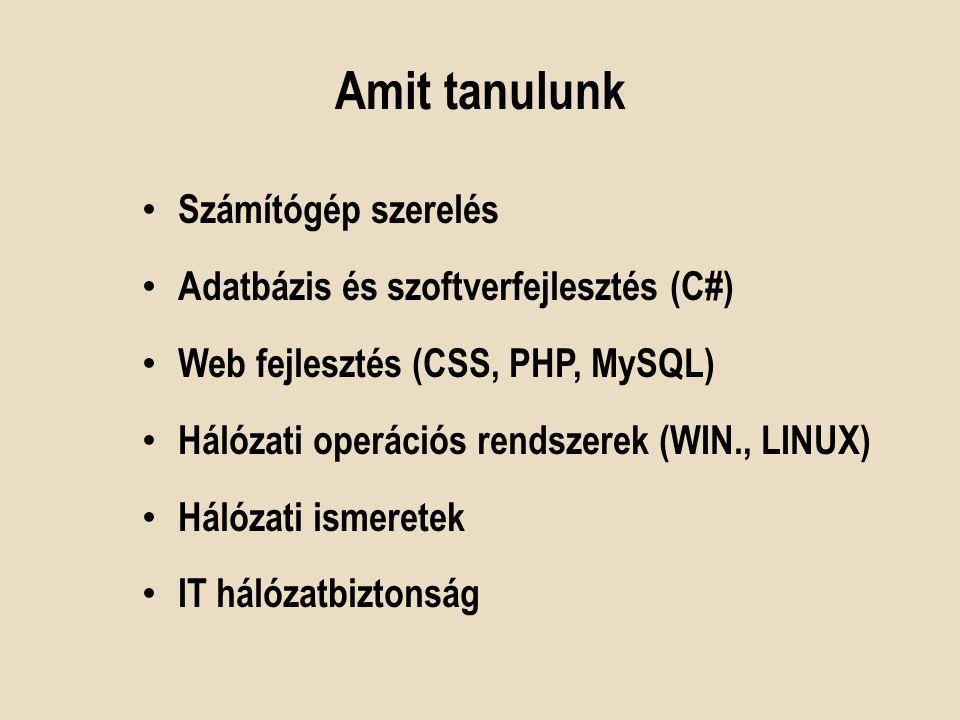 Amit tanulunk Számítógép szerelés Adatbázis és szoftverfejlesztés (C#) Web fejlesztés (CSS, PHP, MySQL) Hálózati operációs rendszerek (WIN., LINUX) Há