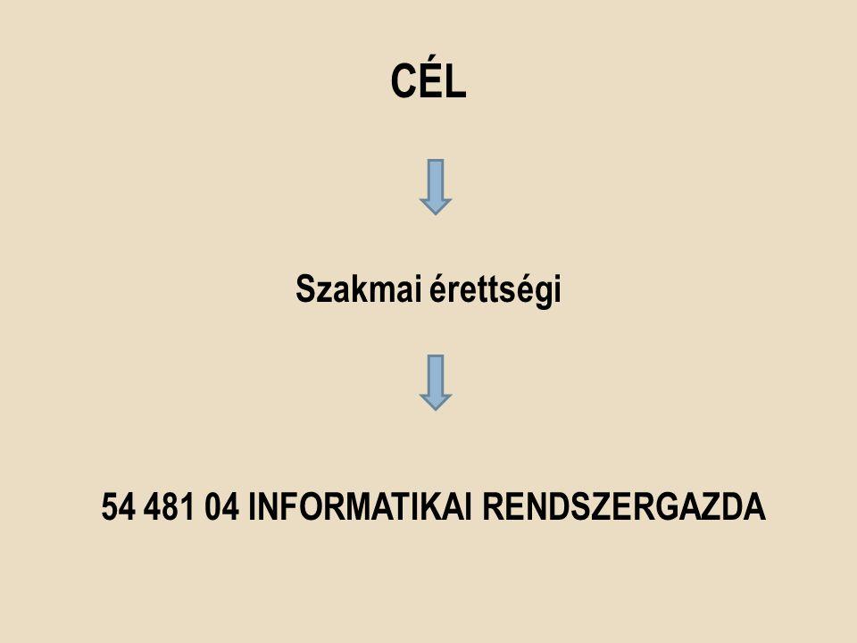 CÉL Szakmai érettségi 54 481 04 INFORMATIKAI RENDSZERGAZDA