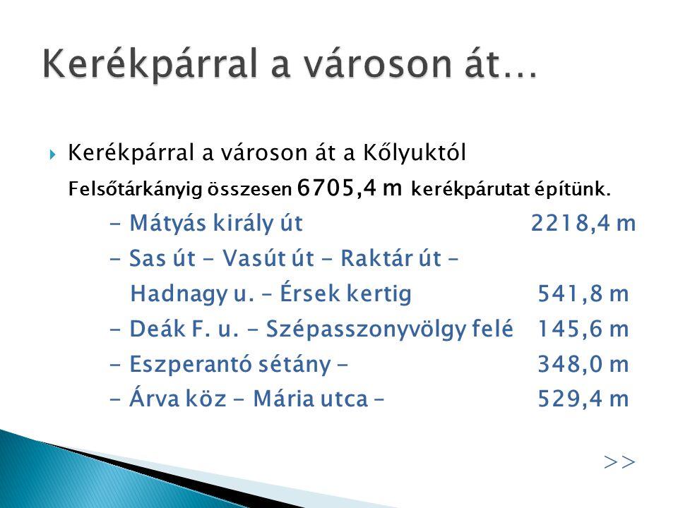 - Felnémeti kerékpárút 2922,2 m - Lidl körforgalom – patakpart, 25.