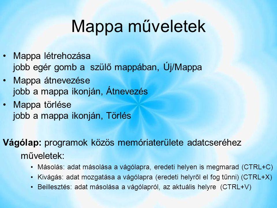 Mappa műveletek Mappa létrehozása jobb egér gomb a szülő mappában, Új/Mappa Mappa átnevezése jobb a mappa ikonján, Átnevezés Mappa törlése jobb a mapp