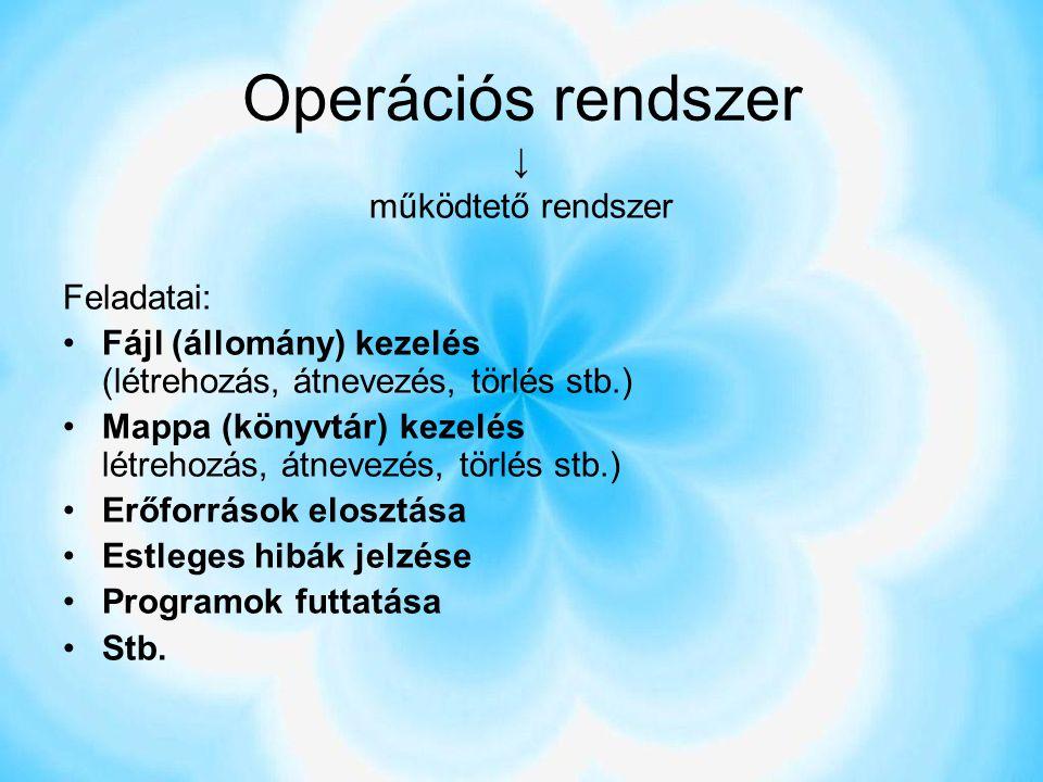 Operációs rendszer ↓ működtető rendszer Feladatai: Fájl (állomány) kezelés (létrehozás, átnevezés, törlés stb.) Mappa (könyvtár) kezelés létrehozás, á