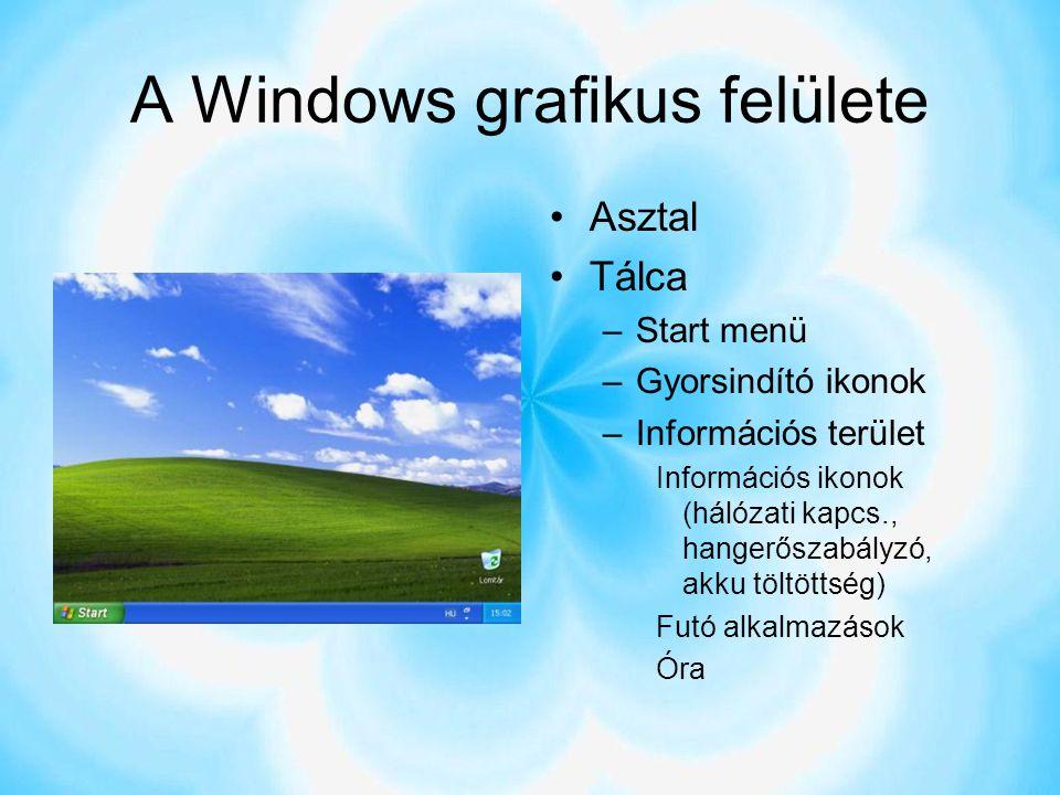 A Windows grafikus felülete Asztal Tálca –Start menü –Gyorsindító ikonok –Információs terület Információs ikonok (hálózati kapcs., hangerőszabályzó, a