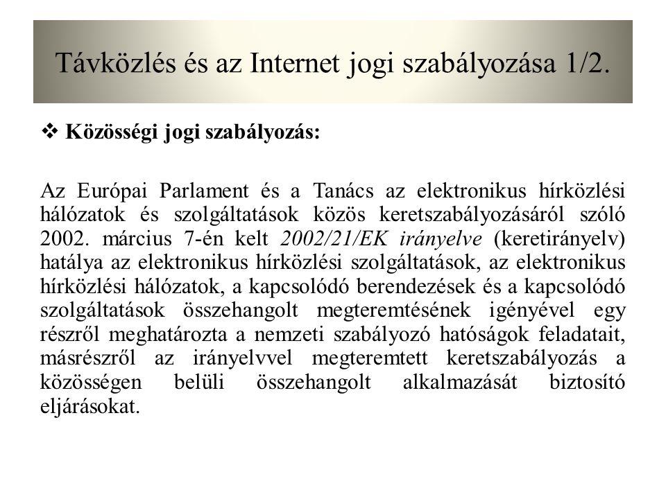 Távközlés és az Internet jogi szabályozása 1/2.