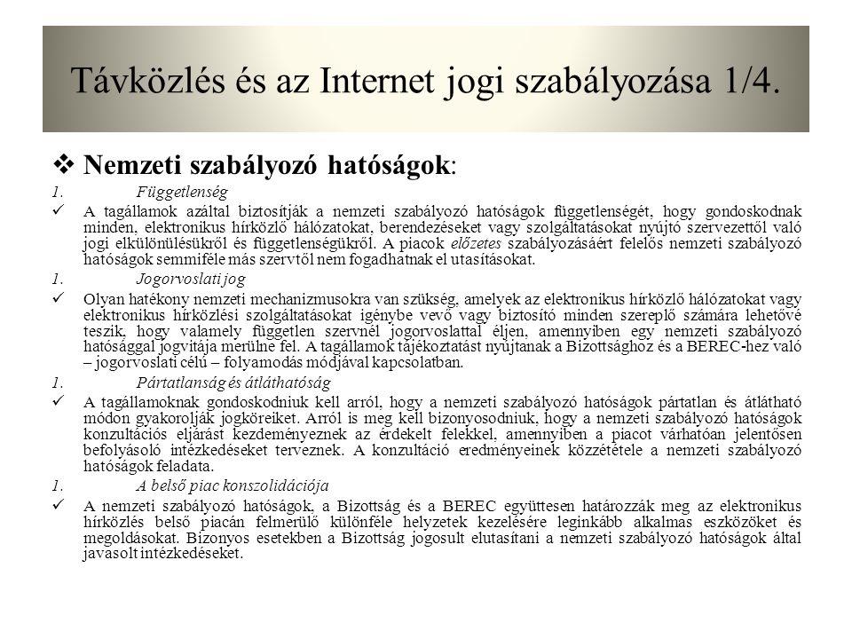 Távközlés és az Internet jogi szabályozása 1/4.