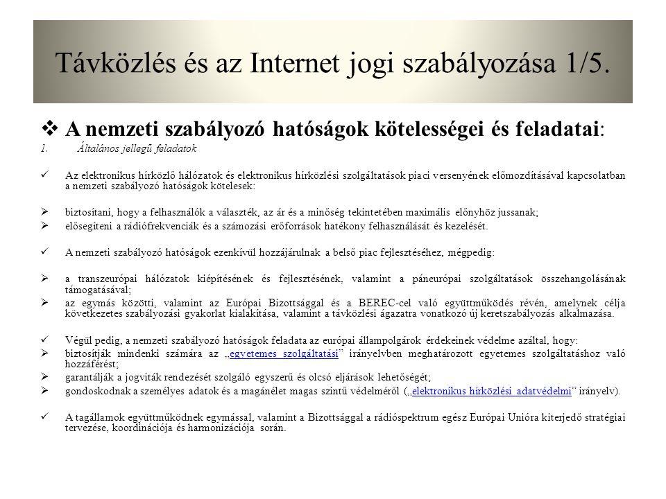 Távközlés és az Internet jogi szabályozása 1/5.