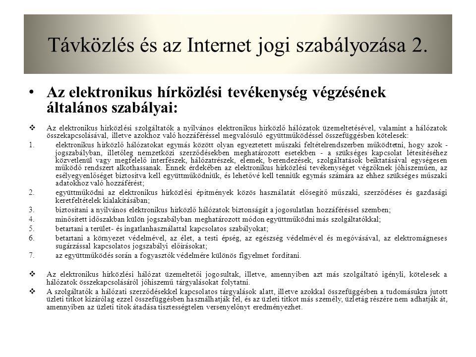 Távközlés és az Internet jogi szabályozása 2.