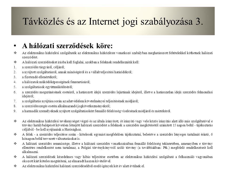Távközlés és az Internet jogi szabályozása 3.